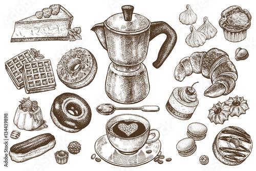 Fotografie, Obraz  Coffee and desserts vector set illustration