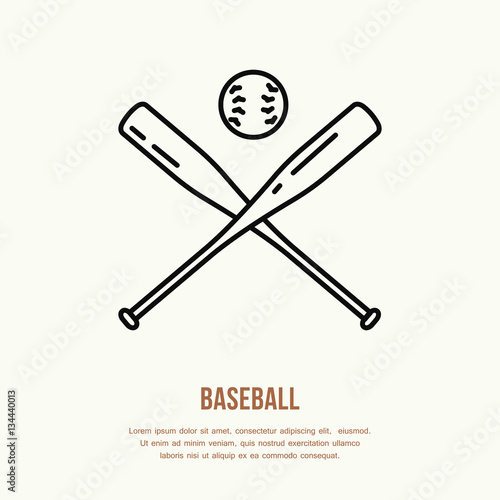 Photo  Baseball, softball vector line icon