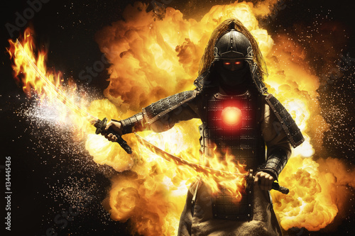 Photo  Samurai warrior with two fire swords