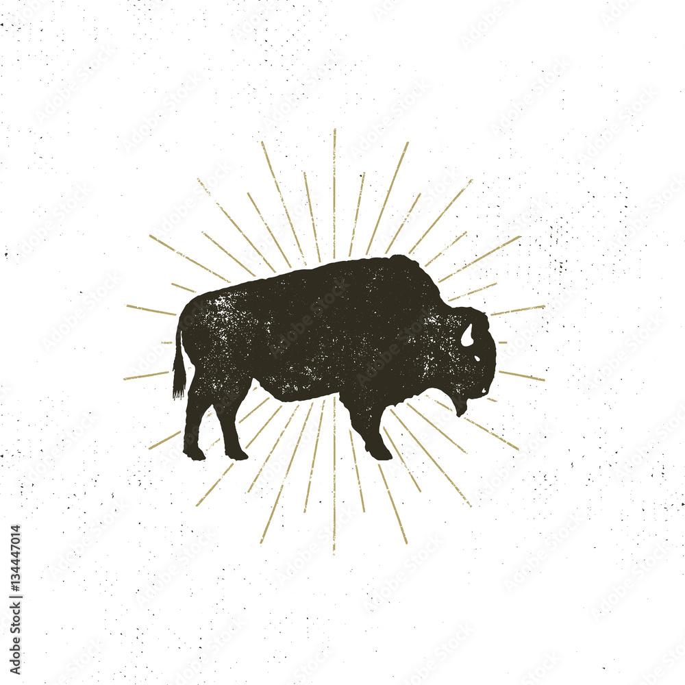 Fototapeta bison icon silhouette. Retro letterpress effect. Buffalo symbol with sunbursts isolated on white background. Use for steak house logo, infographics, logotype. Vector design