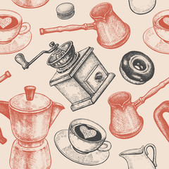 Tapeta Seamless pattern is all about coffee.