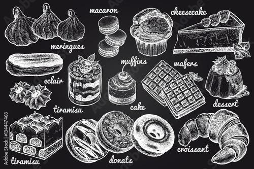 Carta da parati Desserts and inscriptions isolated white chalk on blackboard