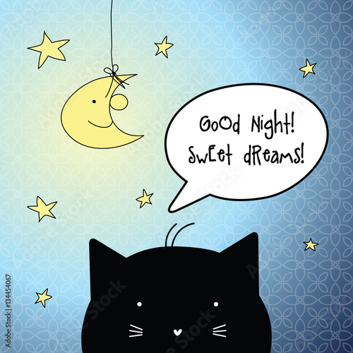 Good Night. Sweet Dreams. Card With Speech Bubble. Cat Character.