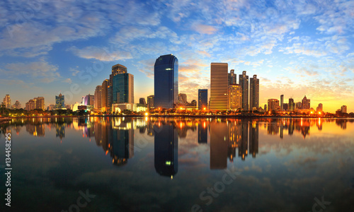 Poster Bangkok Business district cityscape from a park with sunrise time from B