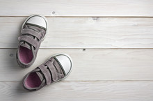 Old Secondhand Pink With Black Canvas Shoes Or Sneakers For Kids