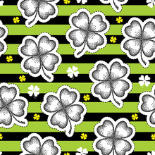 Vector Seamless Pattern With Dotted Lucky Four Leaf Clover Or Shamrock In Black On The Striped Green Background. Holiday Background With Traditional Symbol For St. Patrick Day In Dotwork Style.