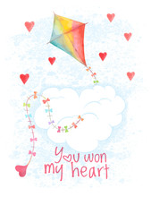 Saint Valentines Day Vector Card. Hand Drawn Flying Kite And Hearts. Greeting Cover On 14 February. Not Autotrace