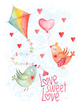 Valentine Day Birds Couple With Heart And Kite On Blue Background. Not Autotrace