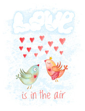 Valentines Day Hand Drawn Cartoon Card. Couple Birds Flying In Clouds In Form Of Word Love. Not Autotrace