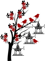 tree branches with chinees style cages