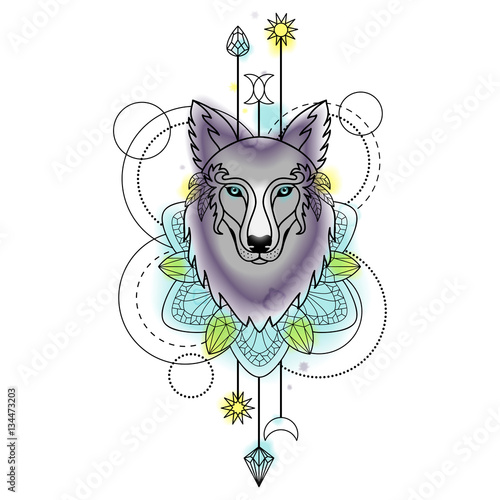 Abstract Wolf Watercolor Tattoo