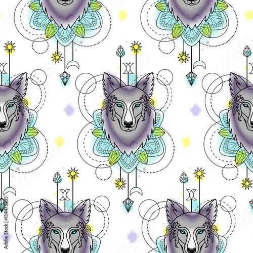 Streszczenie wilk akwarela bezszwowe wzór