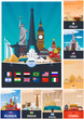 Big Collection of Travel posters to country. Vecor Flat illustration.