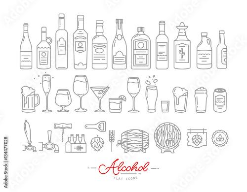 Fotografía  Flat alcohol icons