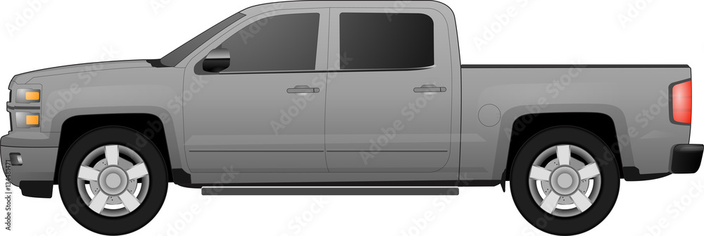 Fototapety, obrazy: Off-road car on white background. Image of a brown pickup truck in realistic style. Vector illustration