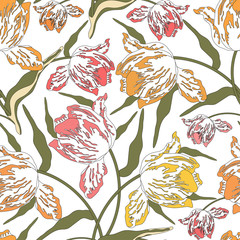 FototapetaPattern with tulips.Seamless vector floral print.Colorful textile texture