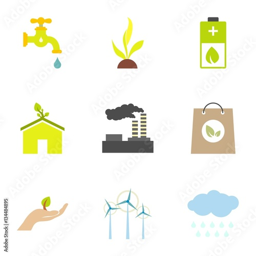 Photo Types of energy icons set, flat style