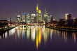 Picturesque view of business district with skyscrapers and mirror reflections in the river at dark night, Frankfurt am Main, Germany