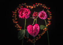 Rose Flowers In Front Of Heart...