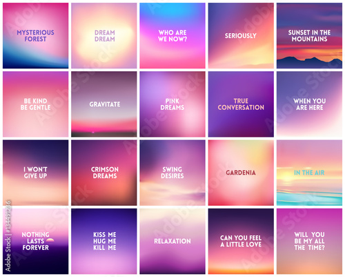 Photo  BIG set of 20 square blurred nature purple pink backgrounds