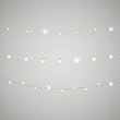 Different lighting garland vector set isolated on transparent ba