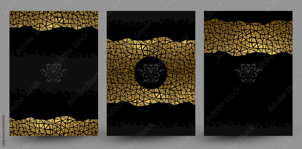 Fototapety, obrazy: set of three banners with gold texture decoration on the black background.