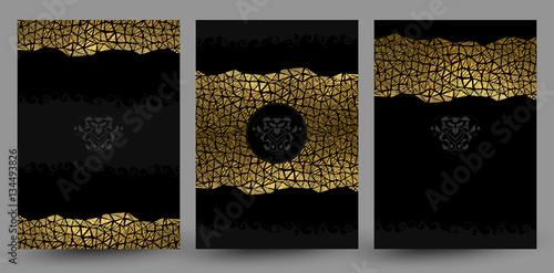 Fotografia  set of three banners with gold texture decoration on the black background