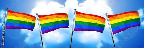Foto  Gay pride flag, 3D rendering, on cloud background