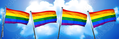 Valokuva  Gay pride flag, 3D rendering, on cloud background