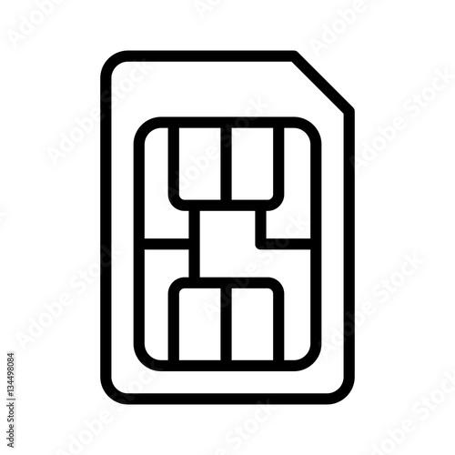 Fényképezés  SIM card or subscriber identity / identification module chip line art vector ico