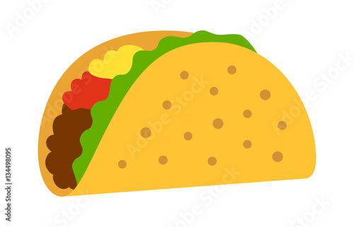 Fotografie, Obraz  Taco with tortilla shell Mexican lunch flat color vector icon for food apps and