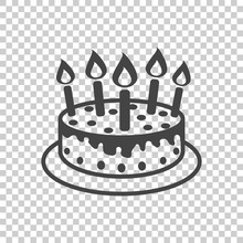 Cake With Candle Icon. Simple ...