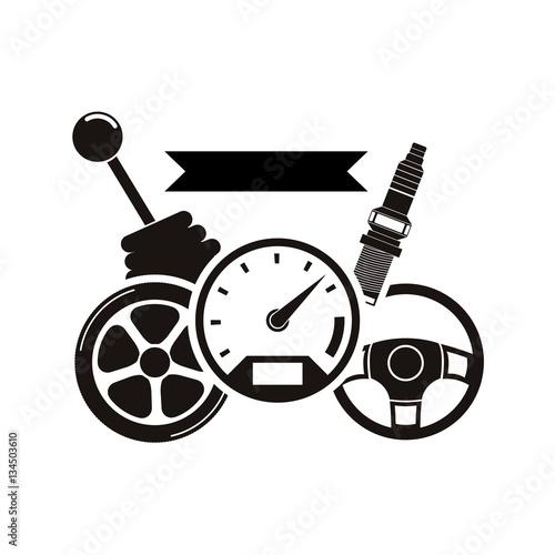 Fotografía  Racing motorsport symbol icon vector illustration graphic