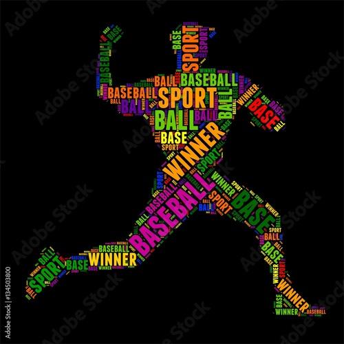 Fotografiet  baseball typography word cloud colorful Vector illustration