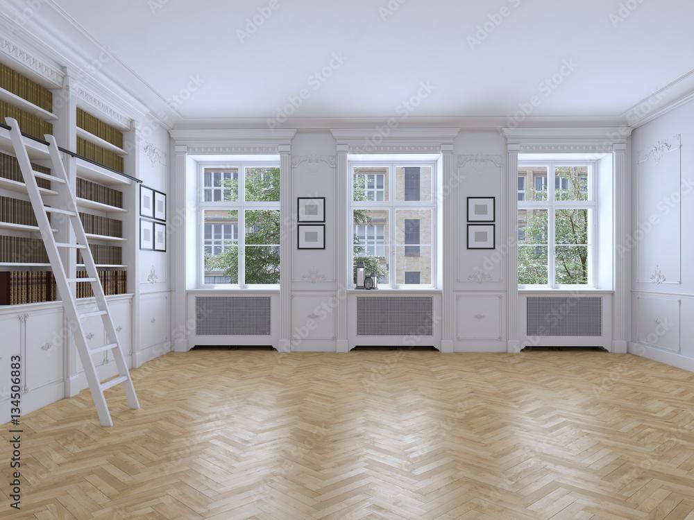 Leerer Heller Raum Mit Fenstern Und Parkett 3d Rendering Foto
