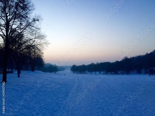 Fototapeten Natur München Westpark im Winter mit Schnee