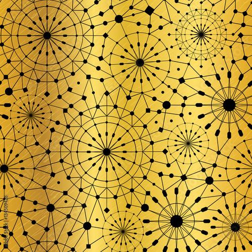 Vector Gold Black Abstract Network Metallic Circles Seamless