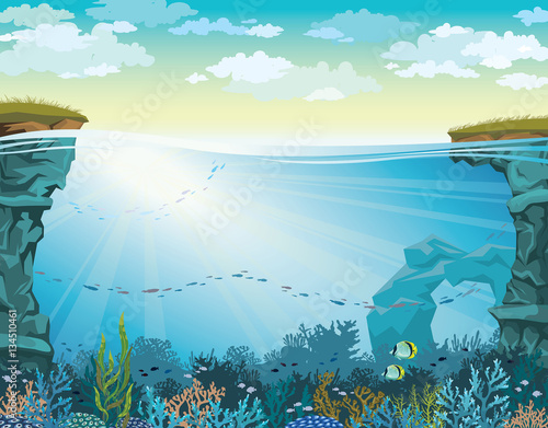 Fototapeta Coral reef with fish and cloudy sky. Underwater sea. obraz
