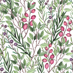 Panel Szklany Podświetlane Do herbaciarni Seamless Pattern of Watercolor Herbs and Berries