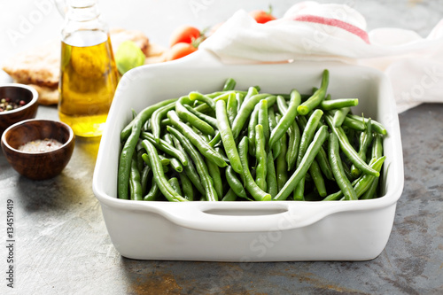 Blanched green beans Canvas Print
