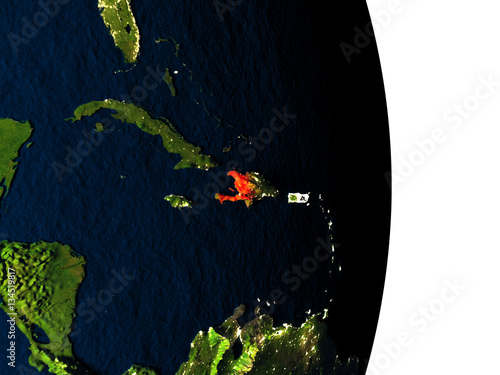 Haiti from space during dusk Fototapete