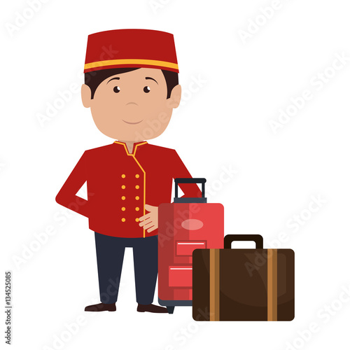 Fotomural bellboy character hotel service icon vector illustration design