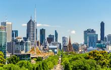 Skyline Of Melbourne From Kings Domain Parklands - Australia