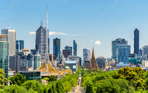 Skyline of Melbourne from Kings Domain parklands - Australia
