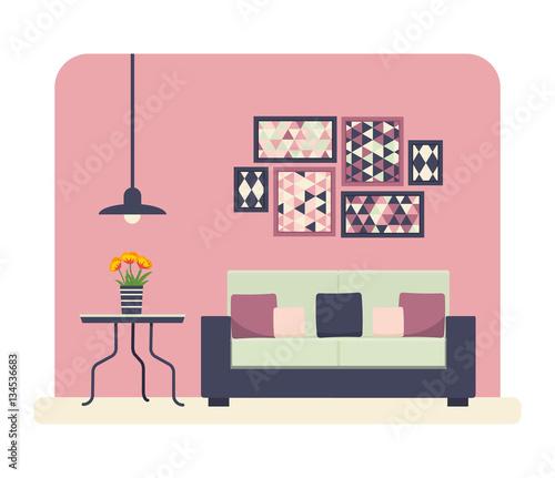 Spoed Foto op Canvas Violet living room vector