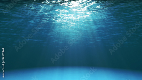 Poster de jardin Fractal waves Dark blue ocean surface seen from underwater