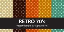 "Polka Dot Pattern Set ""Retro 70's"". Vector Seamless Vintage Back"