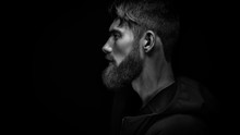 Single Standing In Profile Young Handsome Serious Bearded Man In