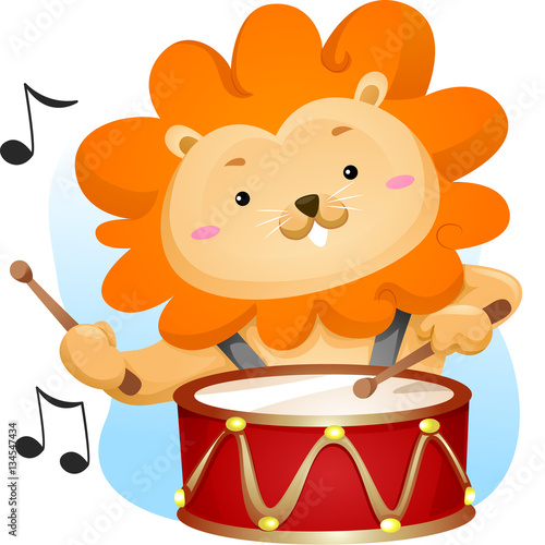 Mascot Music Lion Drums Canvas Print