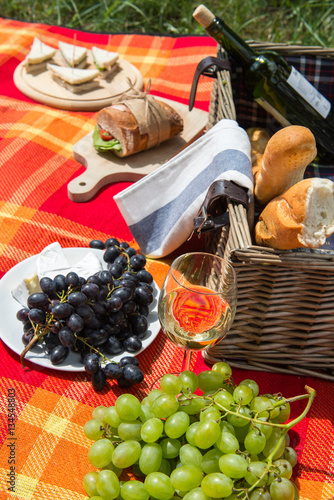 Keuken foto achterwand Picknick Picnic concept - food and wine on the blanket
